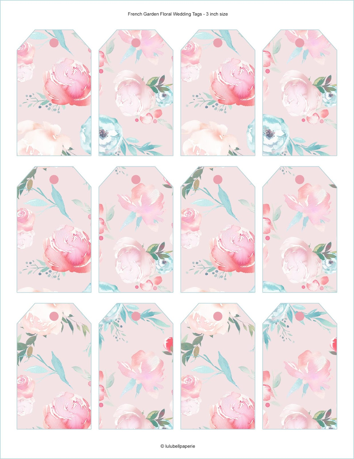 Chic French Garden Peony Floral Free Shabby Pink Gift Tag Sheet DIY Printable