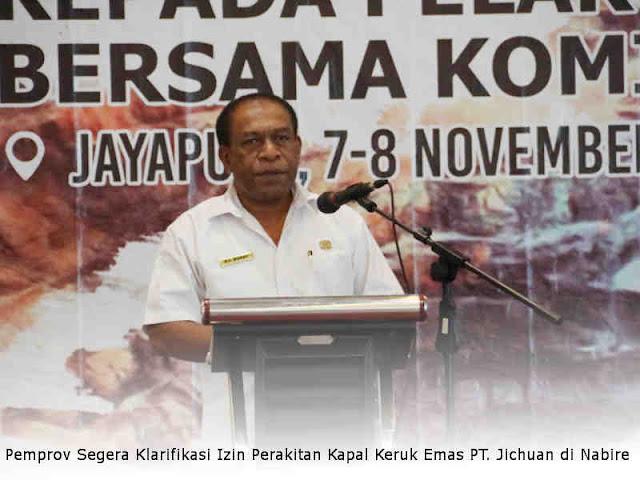 Dinas ESDM Papua Segera Klarifikasi Izin Perakitan Kapal Keruk Emas PT. Jichuan di Nabire
