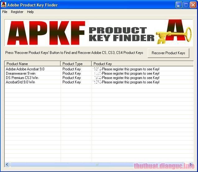Download APKF Adobe Product Key Finder 2.5.7.0 Full Crack