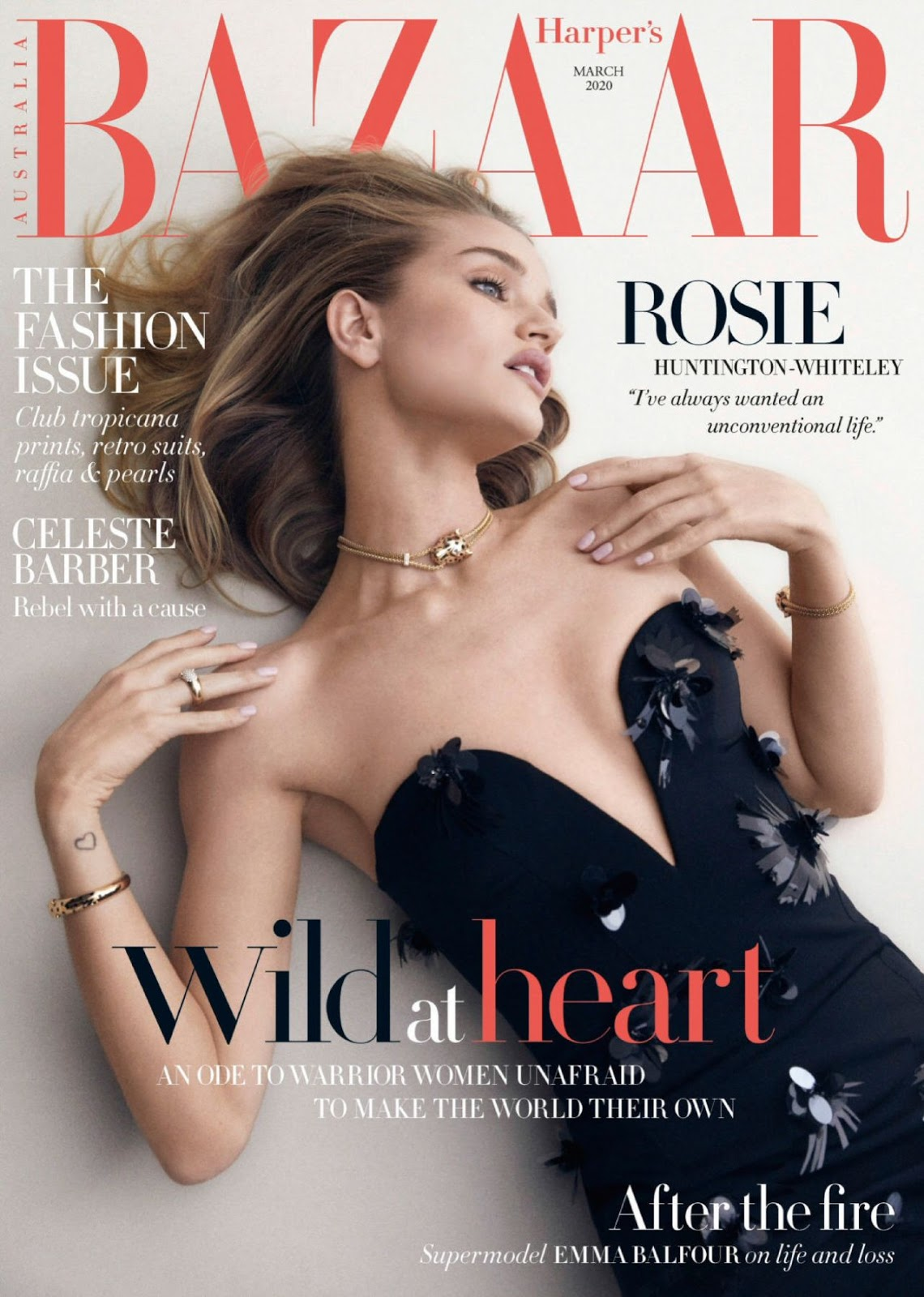 Rosie Huntington-Whiteley covers Harper's Bazaar Australia's The Fashion Issue March 2020