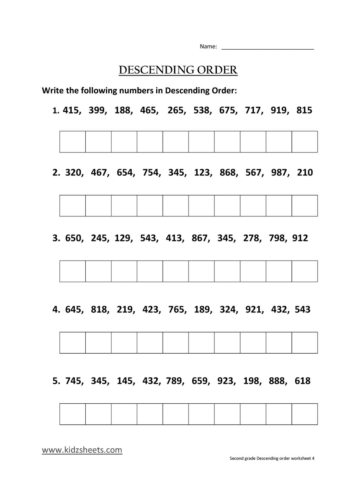 Kidz Worksheets Second Grade Descending Order Worksheet4