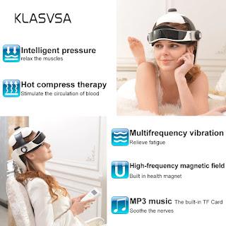 Alat Terapi Pijat Leher Kepala Klasvsa Electric Heating Air Pressure Vibration Massage Music Health Care