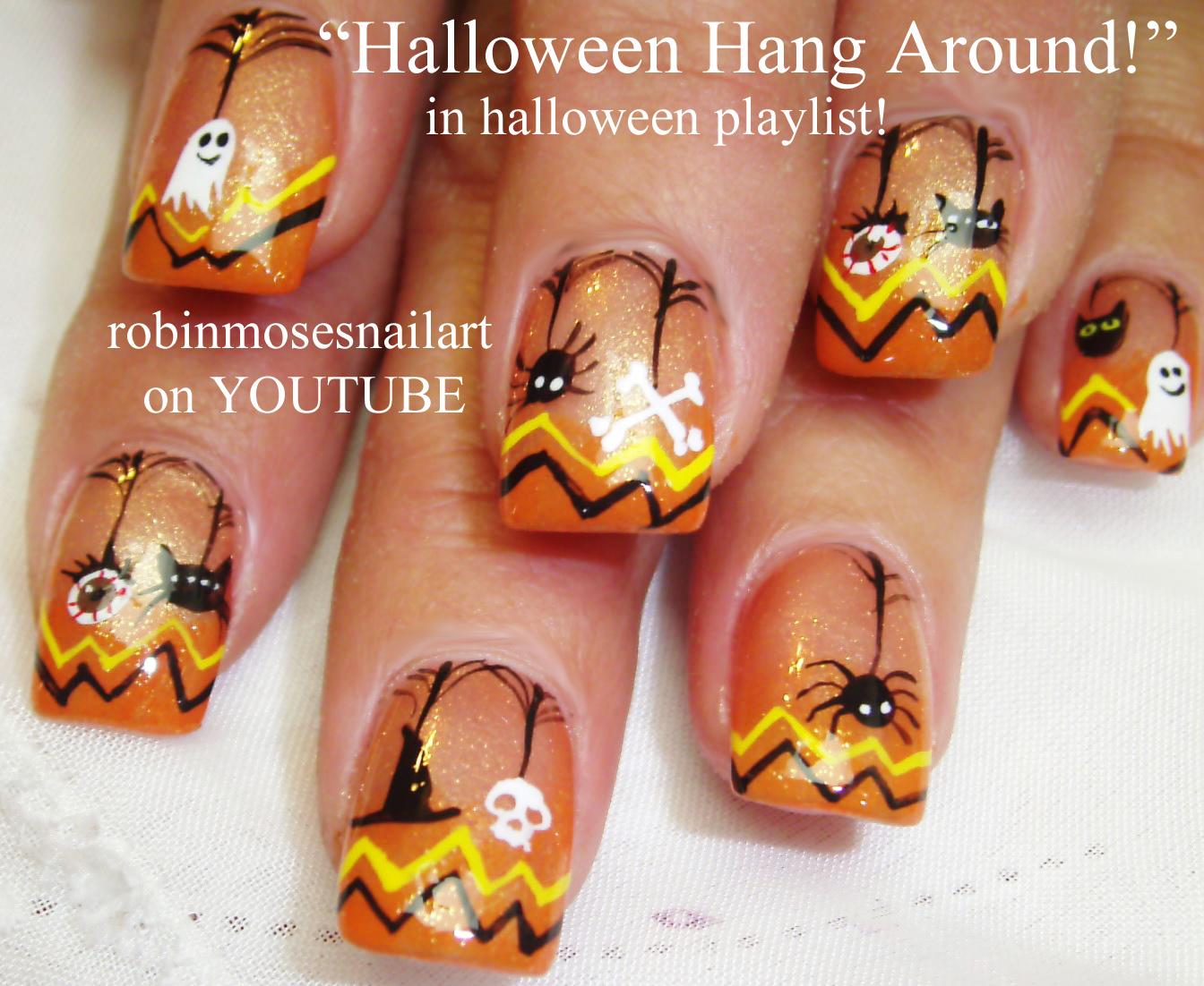 Nail Art By Robin Moses Halloween Nails Bat Nails Batman Nails