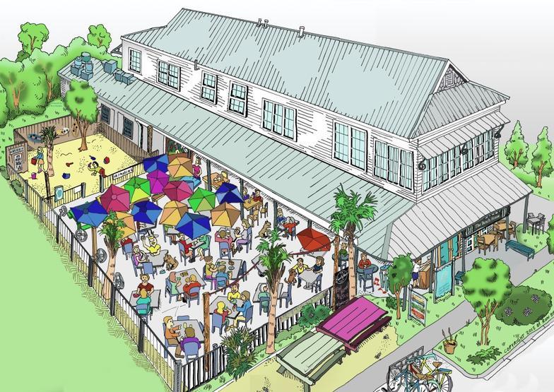 Tammany family beach house cartoon for Beach house drawing
