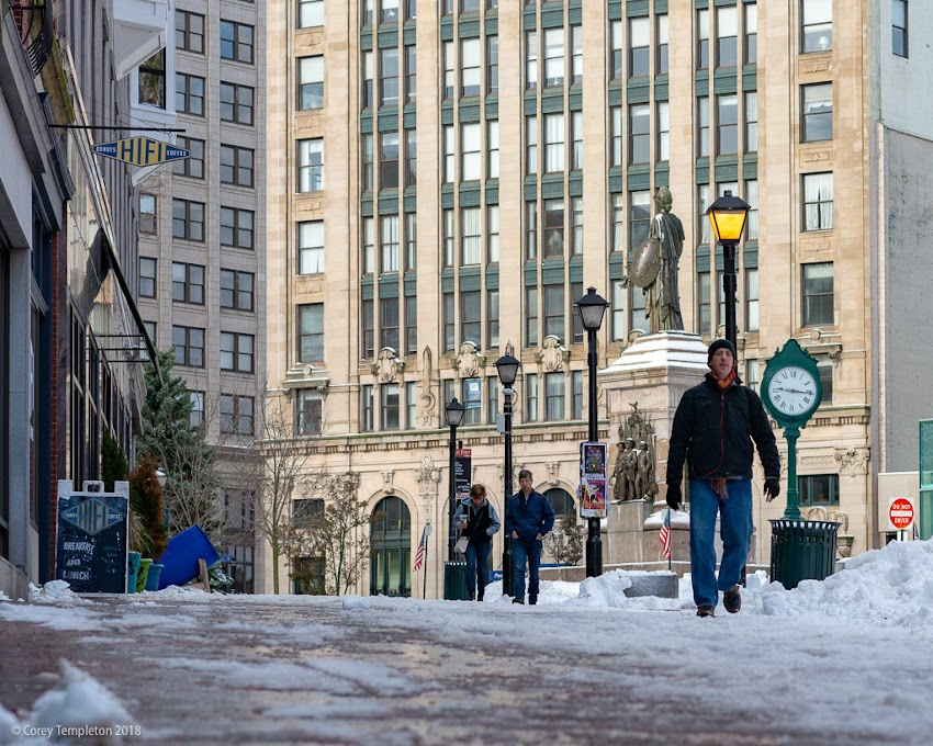 Portland, Maine USA November 2018 photo by Corey Templeton. Monument Square after the first (small) snow event of the season.