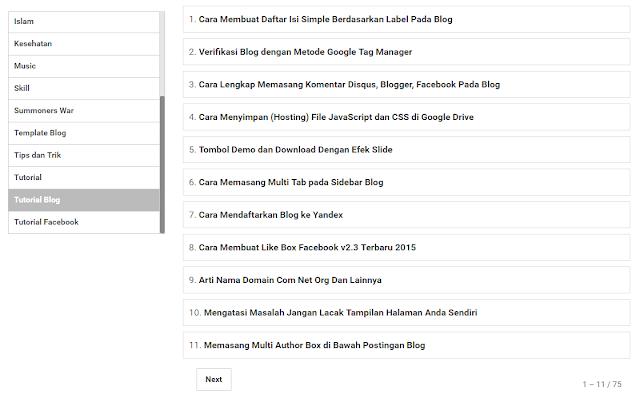 Cara Membuat Daftar Isi Simple Berdasarkan Label Pada Blog