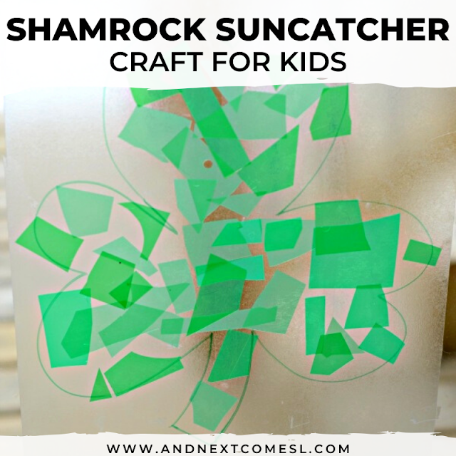 Easy shamrock suncatcher craft
