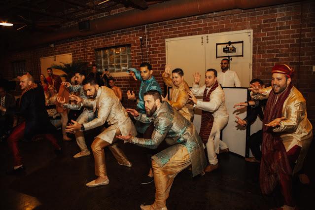 indian sangeet dance groom and groomsmen