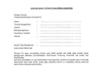 Format Surat Pernyataan Bebas Narkoba untuk CPNS Kemenag