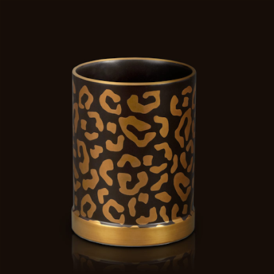 pencil cup, leopard pattern, 24K gold