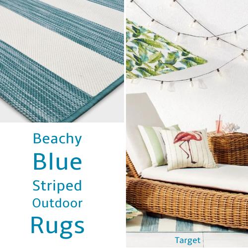 Beach Blue Cabana Striped Rug