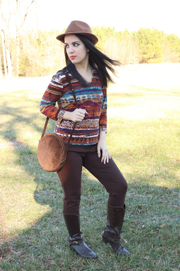Brown Denim Leggings