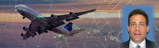 Illustration includes photo of Mark Glasser, airplane flying through clouds and air traffic control radar.
