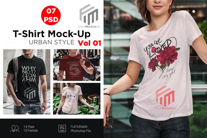 T-Shirt Mock-Up Urban Style Male Bundle Pack Vol 1