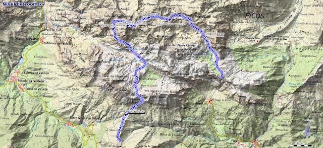 Mapa de la ruta al Llambrión desde Valcavado y El Cable
