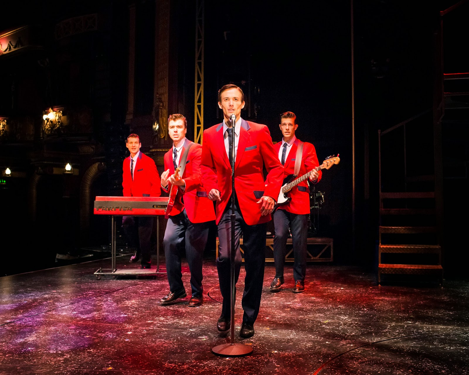 Sam Ferriday, Stephen Webb, Tim Driesen and Lewis Griffiths in JERSEY BOYS UK tour credit Helen Maybanks