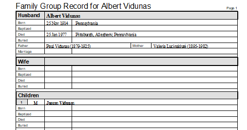 Albert Vidunas Pennsylvania
