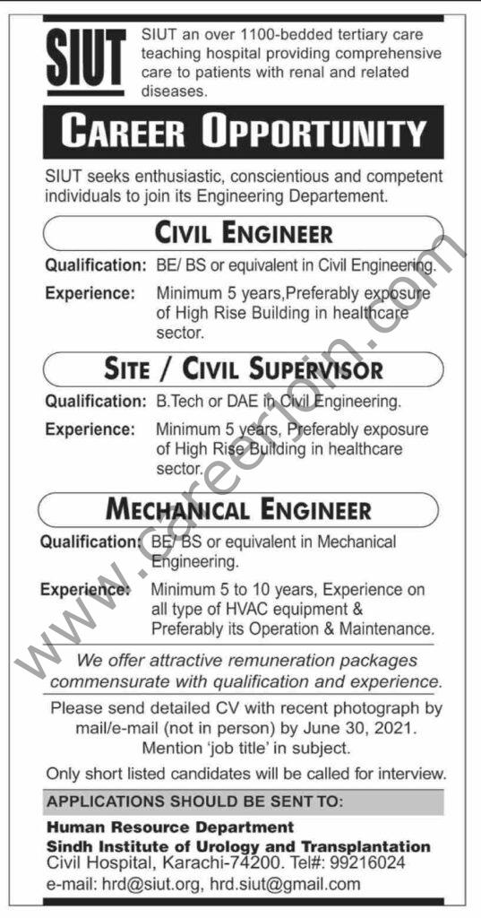 hrd@siut.org - SIUT Pakistan Jobs 2021 in Pakistan