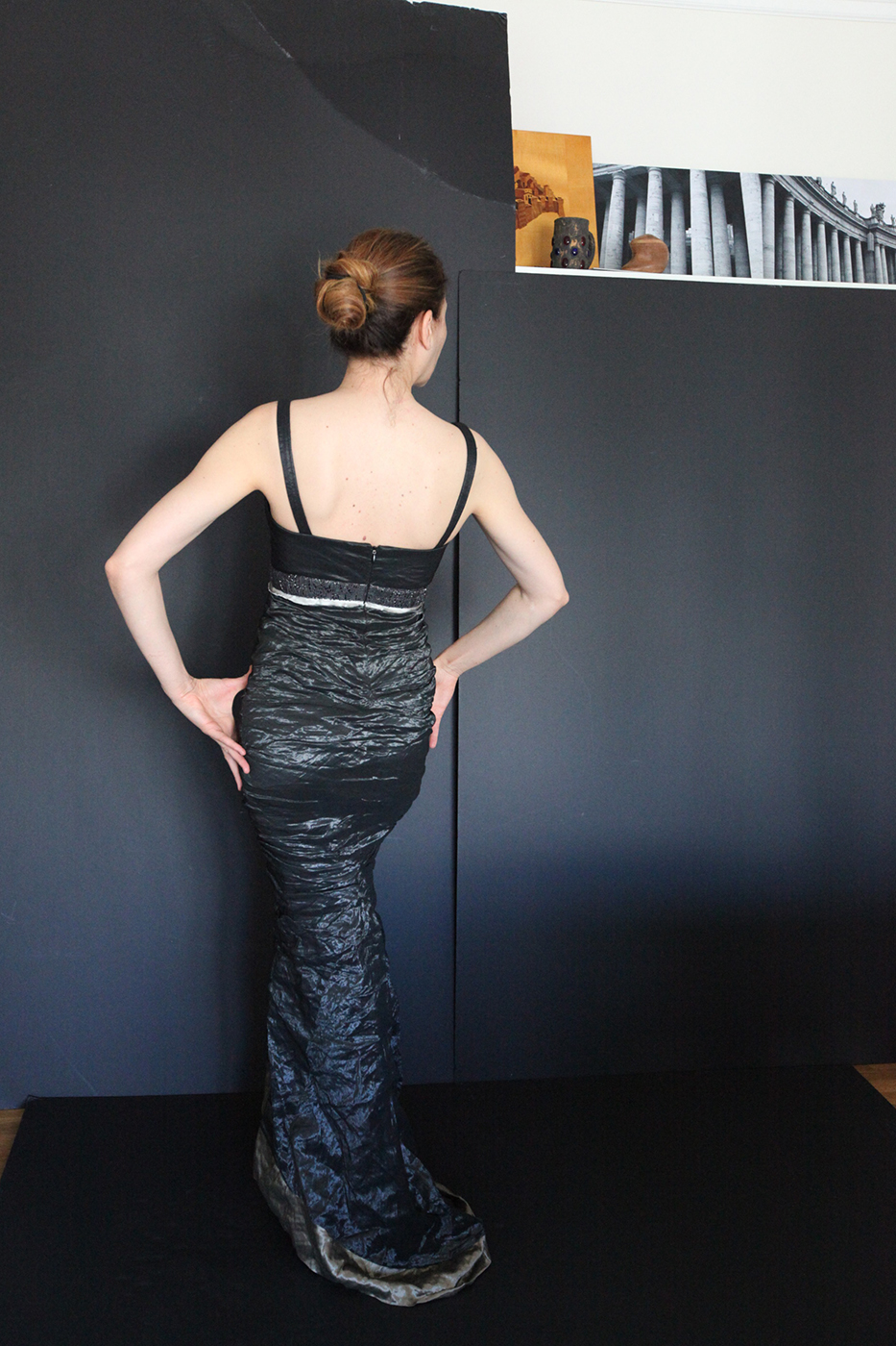 Saks Fifth Avenue evening gown I wore to the Met opera, complete with a box seats ( if you have ever shown up to the met overdressed  and ll eyes are on the gown and the bare back )