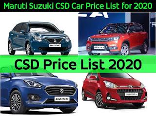 Maruti Suzuki CSD Car Price List 2020