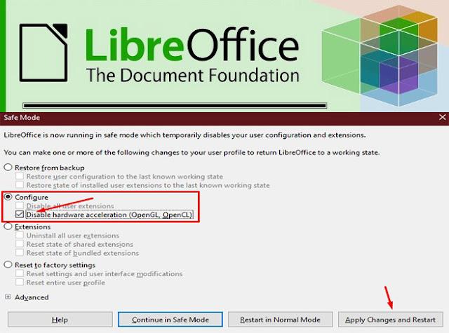 libre office safe mode setting error startup