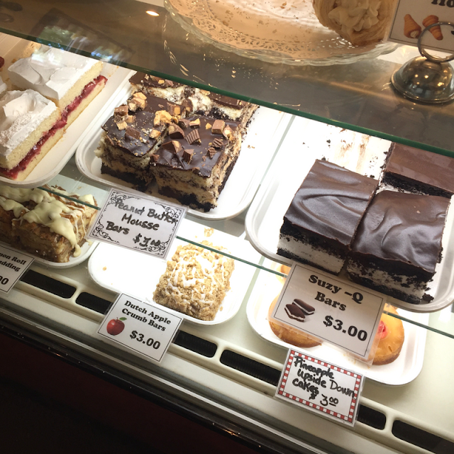 A case full of incredible fresh baked treats at Nonie's in Utica