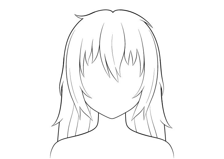 Anime gambar garis rambut panjang berantakan