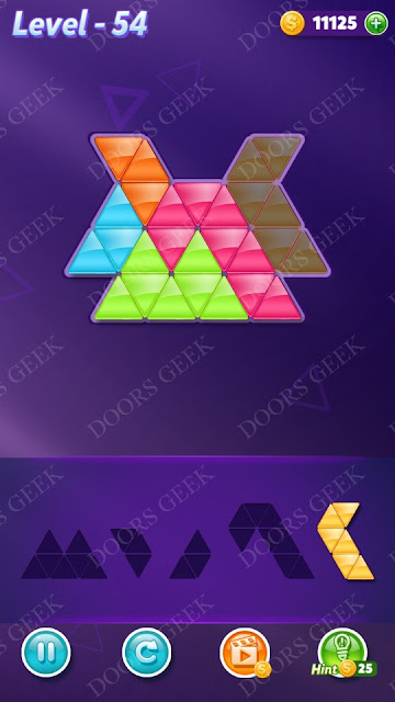 Block! Triangle Puzzle 5 Mania Level 54 Solution, Cheats, Walkthrough for Android, iPhone, iPad and iPod