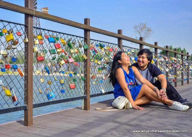 Ed and Lady in Dubai love lock bridge