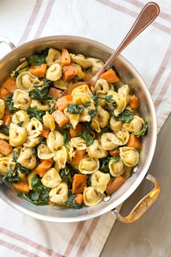 Creamy Skillet Tortellini with Sweet Potato And Spinach #creamy #skillet #tortellini #sweet #potato #spinach #veggies #veganrecipes #vegetarianrecipes