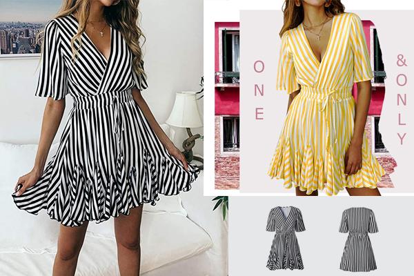Summer Mini Dress for Women's Sexy Deep V Neck Short Sleeve