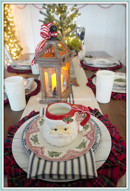 Cottage- Farmhouse- Christmas- Dining -Room -Tablescape-Transferware-Santa-Mug-Place-Setting-From My Front Porch To Yours
