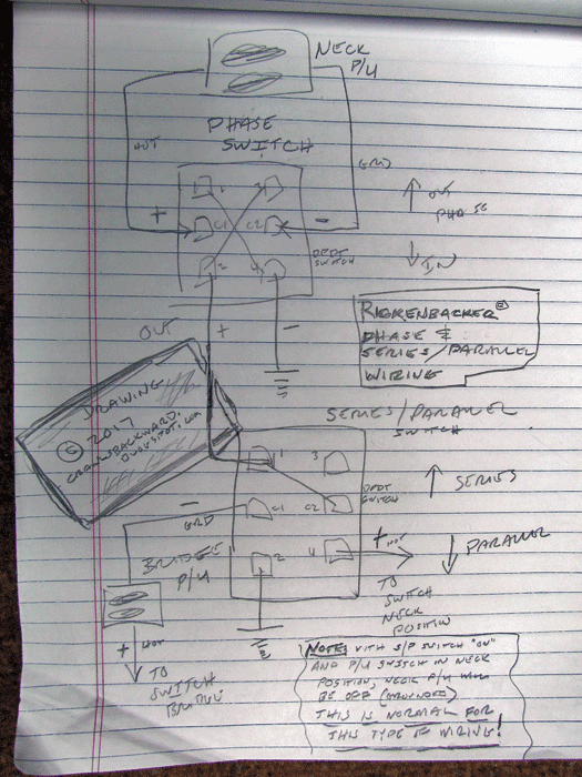 rickenbacker pickup switching mods phase, series parallel crawls push pull processing i drew a diagram to follow, but you can use it to follow if you choose to do this for personal use as a guide, no problem but