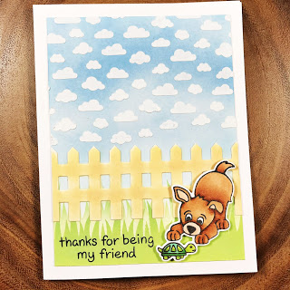 Thanks for being my friend by Danielle Fence, Puppy Friends, and Petite Clouds by Newton's Nook Designs; #inkypaws, #newtonsnook, #cardmaking