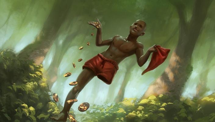 Imagem: ilustração do Saci Pererê em uma floresta, um garoto negro e careca de uma perna só, usando um calção vermelho e segurando um capuz de barrete vermelho em uma mão e na outra fazendo várias moedas de ouro caírem.