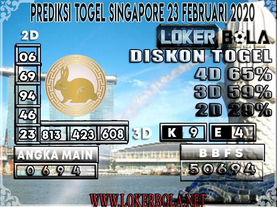PREDIKSI TOGEL SINGAPORE LOKERBOLA 23 FEBRUARI 2020
