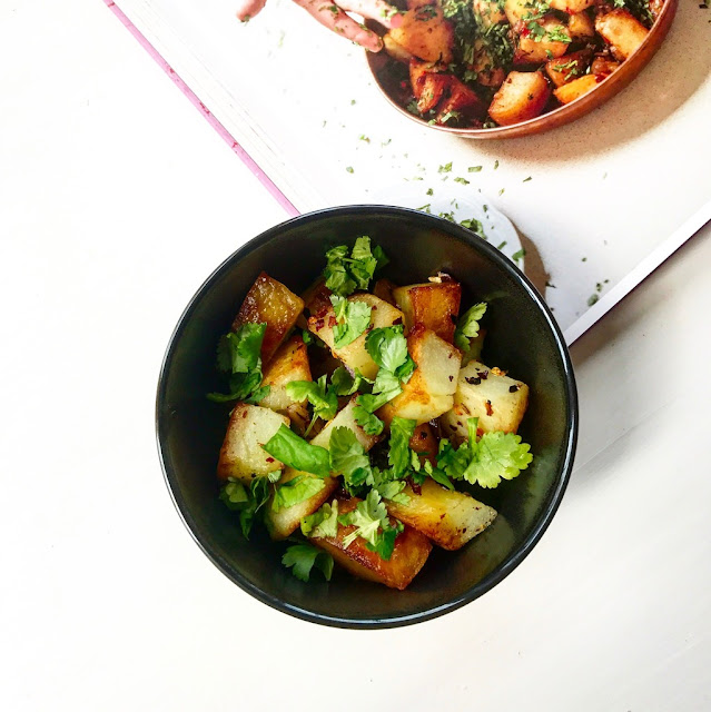 chili and coriander fried potatoes