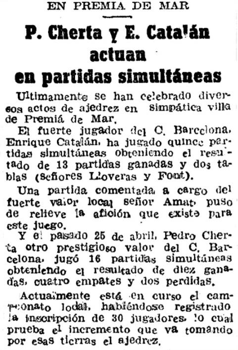 Simultáneas de ajedrez en Premiá de Mar en 1944
