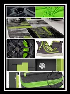 Inspiratiefoto neon-groen en antraciet-grijs. Inspiration photo neon-green and anthracite-grey.