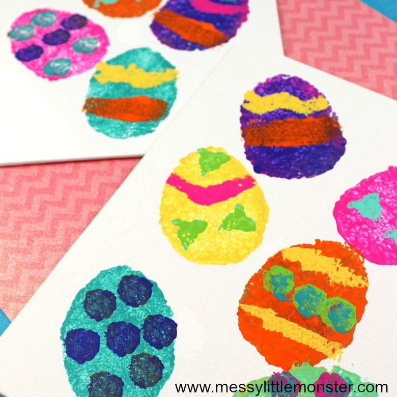 Easter crafts for preschoolers - sponge painted easter egg shapes