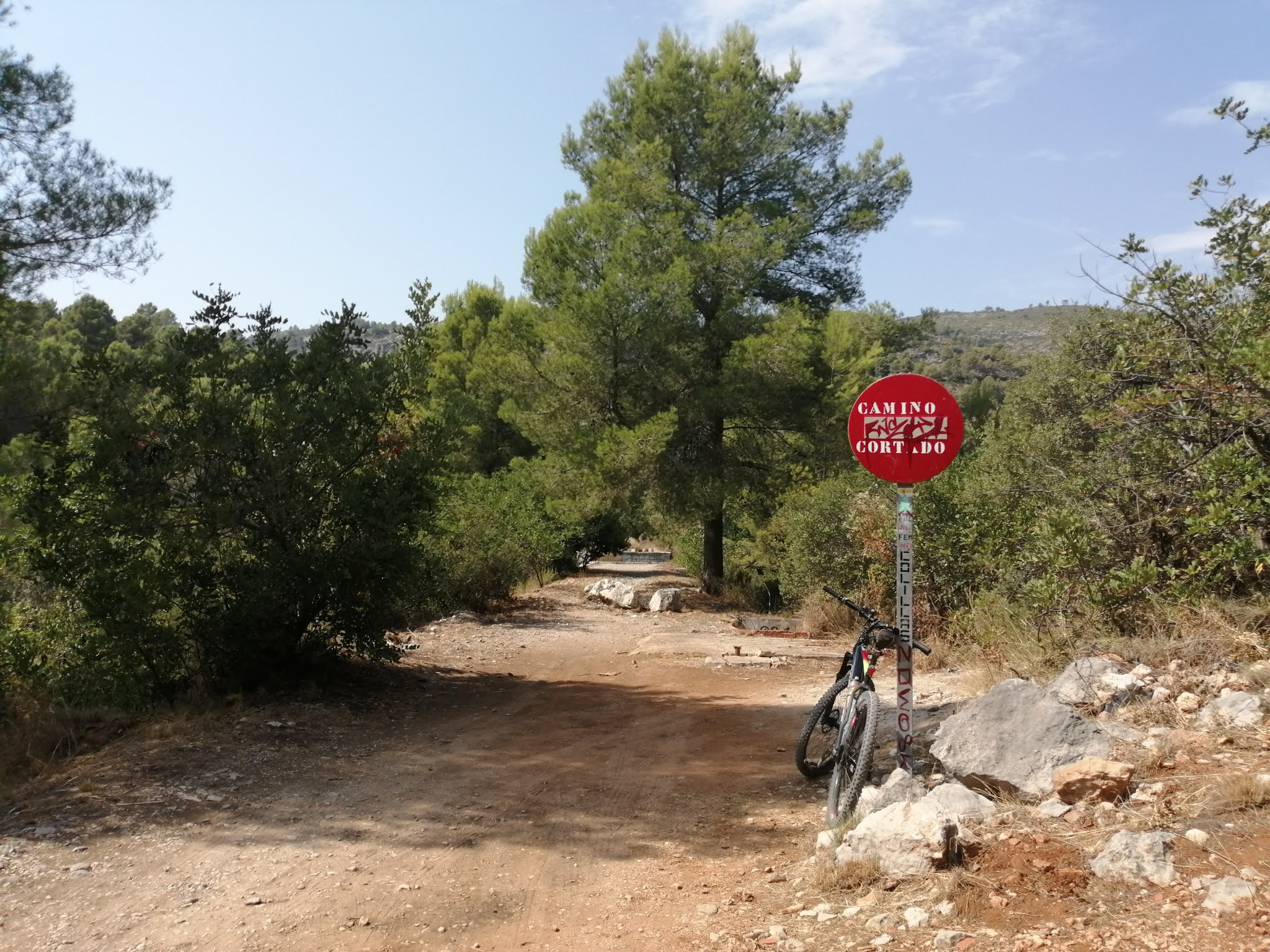 """Road closed"" sign on the Serpis Greenway, Valencia, Spain"