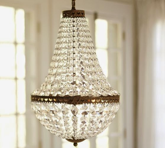 pottery barn crystal chandelier