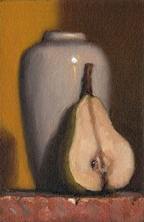 Still life oil painting of a bisected pear beside a white porcelain vase.