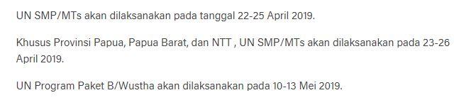 Jadwal UN SMP/MTs TahunPelajaran 2018 / 2019 dilaksankan tanggal 22-25 April 2019, https://bloggoeroe.blogspot.com/