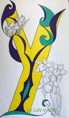 Letter Y done in illuminated style with green and purple ink, with daffodils decoration, artist Linzé Brandon, signed LdV-V