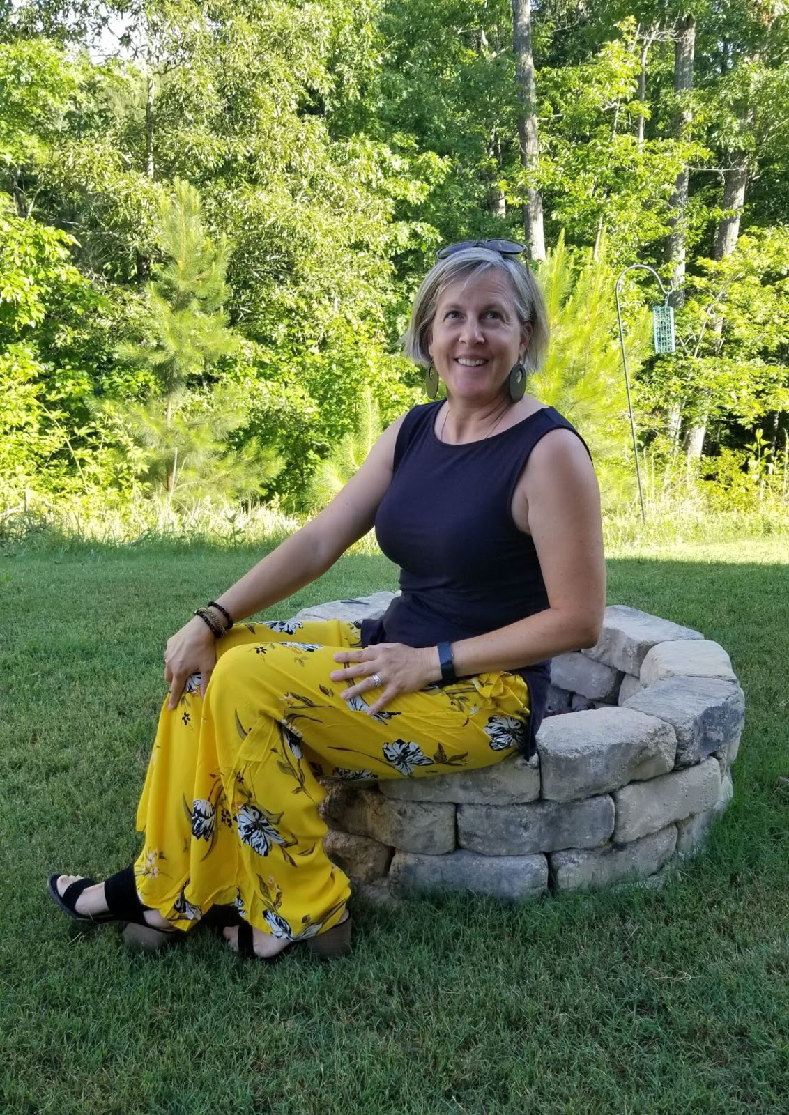 Mireille from blog Chez Mireille with her yellow floral trousers styled 2 ways, a readers' favourite at Is This Mutton link up WowOnWednesday