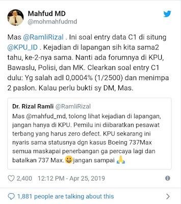 Setelah Jawab Andi Arief, Mahfud Md Kini Ladeni Rizal Ramli-Said Didu