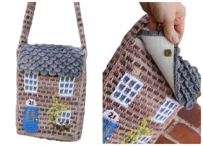 Bolso crochet con forma de casa campestre