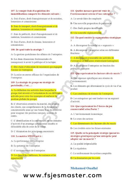 Correction du Concours Master Gestion Financière Comptable et Fiscale (GFCF) 2020-2021 - Fsjes Agdal