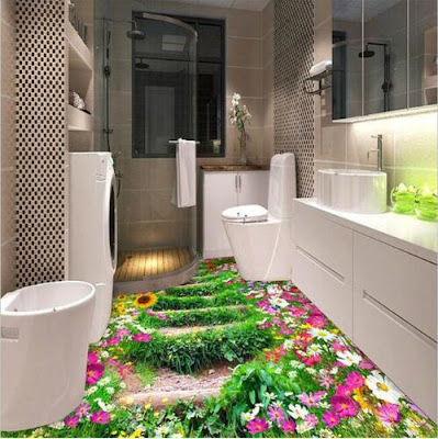 bathroom garden design with flowers in 3d with white vanity set, colors of flowers in 3d flooring looks beautiful